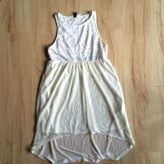 H&M long back dress in off white