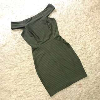 TOPSHOP army Green Bandage Bodycon Dress