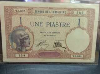 French indochina 1 piastre ND 1921-31