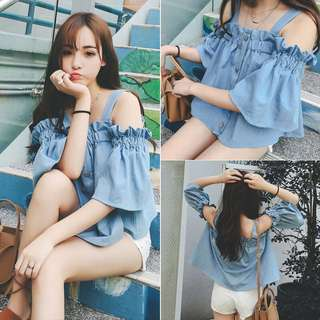 [T30006] Buttoned-Through Denim Top with Cold Shoulder.