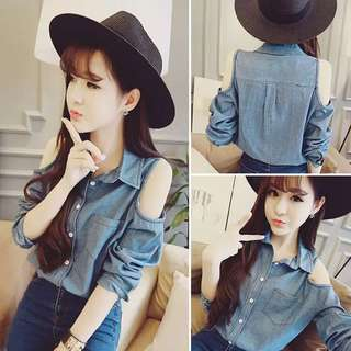 [T30008] Collared Denim Top with Cold-Shoulder.