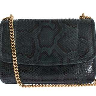 DOLCE & GABBANA BAG GREEN PYTHON SKIN LEATHER MARGHERITA PURSE