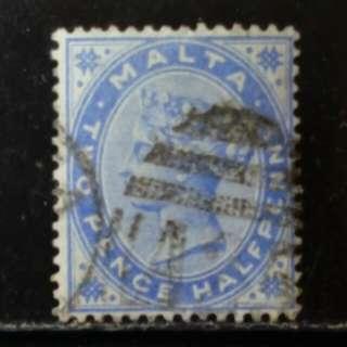 [lapyip1230] 英屬馬爾他 1895年 維多利亞女王 2.5便士 VFU