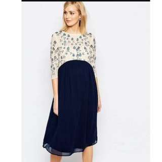 Maya Maternity Dress ASOS embellished Gown Ss 12 Worn Once