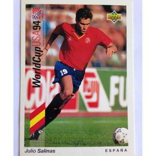 Julio Salinas (Spain) - Soccer Football Card #196 - 1993 Upper Deck World Cup USA '94 Preview Contenders
