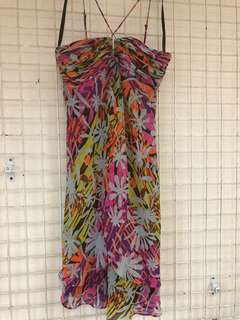 BCBG 100% Silk printed dress