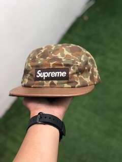 Supreme Camp Cap - Camo Leather + Herringbone Leather