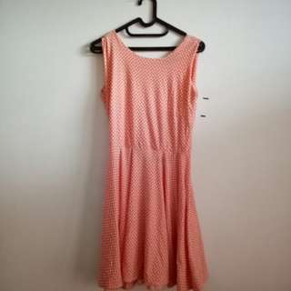 Pastel pink dress polkadot