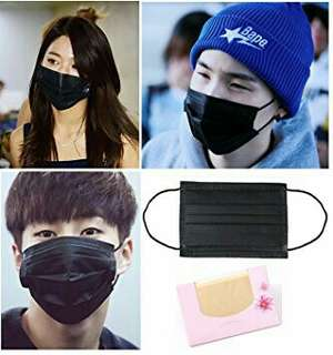 kpop airport black face mask