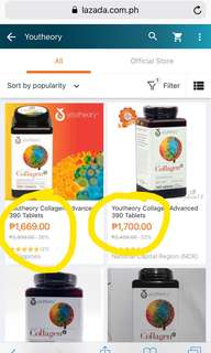 Beauty Collagen! (YOUTHEORY) 390 tabs.