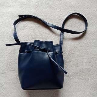 ETSY MANILA Dark Blue Leather Bucket Shoulder Sling Body Bag