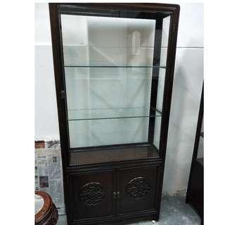 老酸枝木摆设橱。Old BlackWood Display Cabinet.