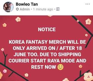 NOTICE FOR KOREA FANTASY MERCH