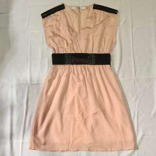 Peach colored formal dress