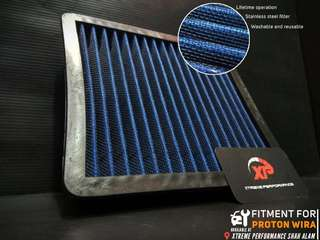 AIR FILTER drop in proton WIRA INJECTION STAINLESS STEEL BLUE