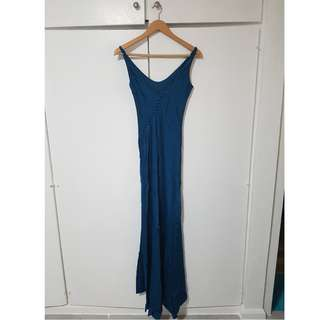 Topshop Blue Satin Fishtail Gown
