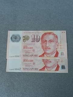 OAB S$10 LHL banknote 2 runs