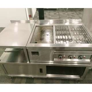 Stainless steel electric grill griddle station bbq