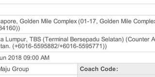 2x Sri Maju tix from Golden Mile to TBS KL