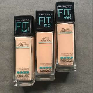 Maybelline fit me foundation in shades 120,130,235