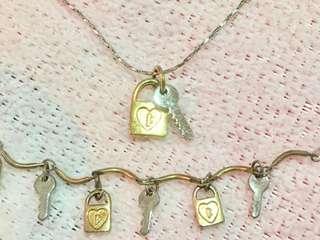 Lock & Key Necklace and Bracelet Set