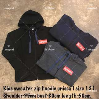 Readystock Unisex Kids Sweater Hoodie Zip
