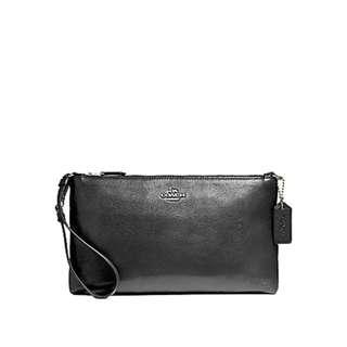 Coach Large Wristlet Shoulder Bag in Pebble Leather Black