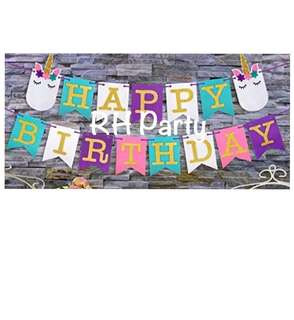(9/6)  Happy birthday unicorn head party banner ( colourful alphabets/ letters)
