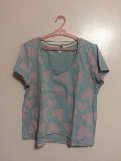 Cotton On Gray Cropped Heart Top