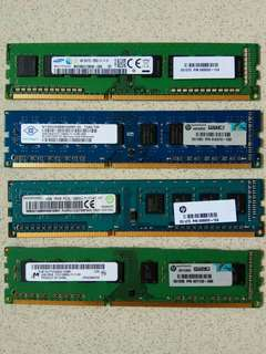 DDR3 4GB ram, PC3-12800, 1600Mhz, for HP workstations, good working condition, selling $30 each.