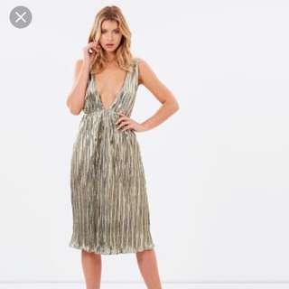 LIONESS Metallic gold pleated midi dress