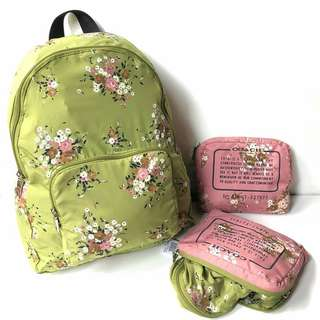 Coach Floral Packable Nylon Backpack (Midnight, Vintage Pink, Green)