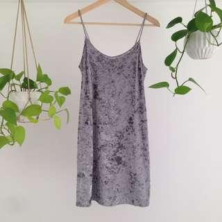 Silver / Grey Velvet Dress