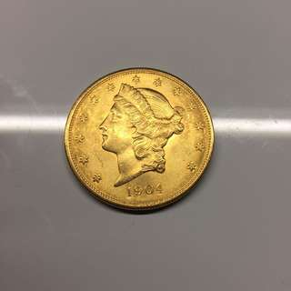 USA 1904 $20 Liberty gold coin