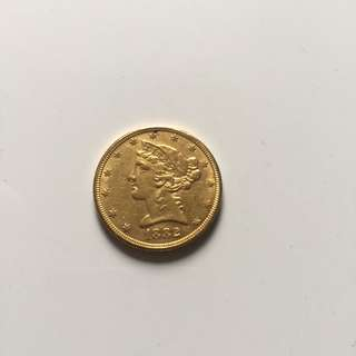 USA 1882 Liberty gold $5 coin
