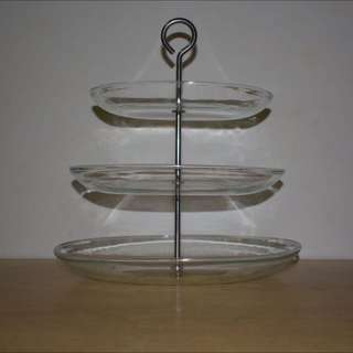 3 Tier Glass Cupcake Stand