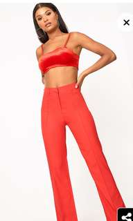 Pretty little thing red pants size 10 never worn !!