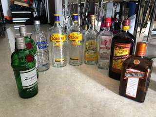 Empty liquor bottle Gordon Tanquery gin Vodka