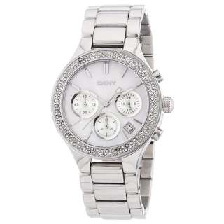 SILVER STAINLESS STEEL LADIES WATCH WITH MOTHER OF PEARL DIAL NY8057