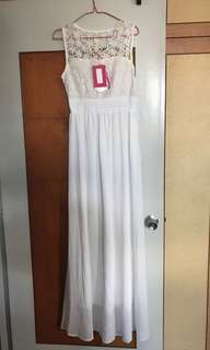 White maxi dress with cute pattern on top