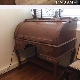Vintage teak Paranakan rolltop desk