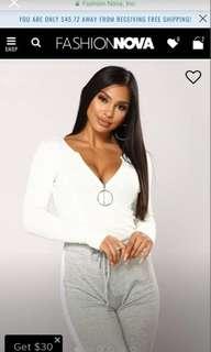 White Fashionnova bodysuit XS