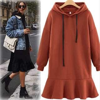 Plus size Peplum dress hoodie