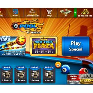 Hello i am selling 8 ball pool account. Its pure miniclip account with 250 level and more than 26.4 billion coins .