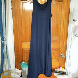 🚚 【二手】藏青藍長洋裝棉質