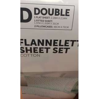 "Target Australia Aqua Blue Cotton Flannelette Flat Sheets ""Laine"" & ""Dash"" (TWO SHEETS)"