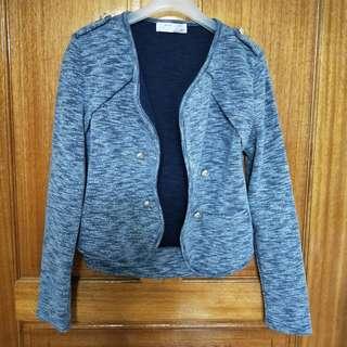 🚚 【二手】藍灰棉質短版外套