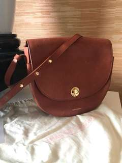 mansur gavriel vegetable tanned brown leather saddle bag