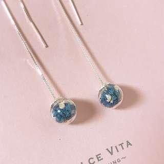 滿天星乾花玻璃球925純銀耳線耳環