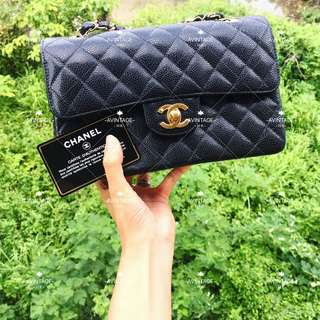 (SOLD)Chanel Vintage 黑色荔枝皮 Classic Flap 23cm